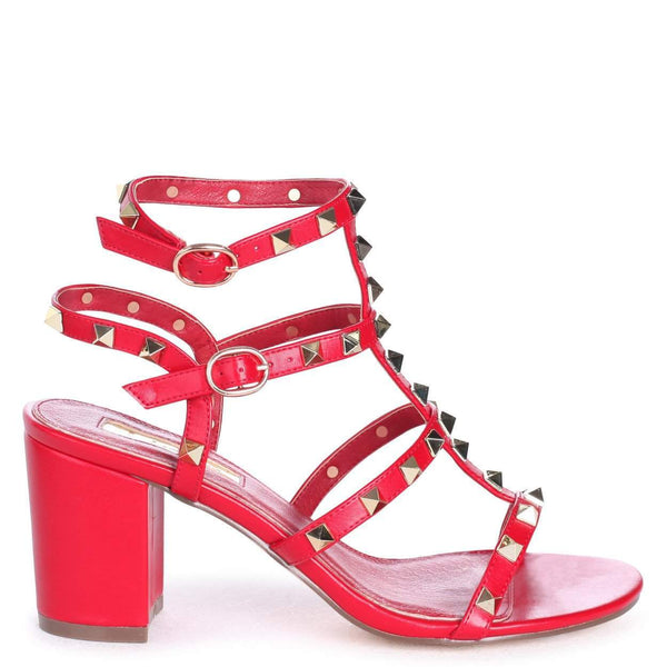 6031a5bfdcb9 TESSA - Red Nappa Studded Block Heeled Sandal – AX Paris