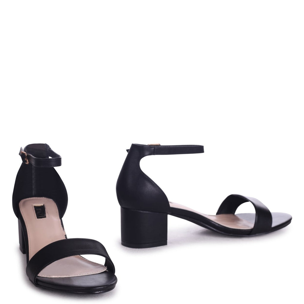 4624d2297f HOLLIE - Black Nappa Barely There Block Heeled Sandal With Closed Back