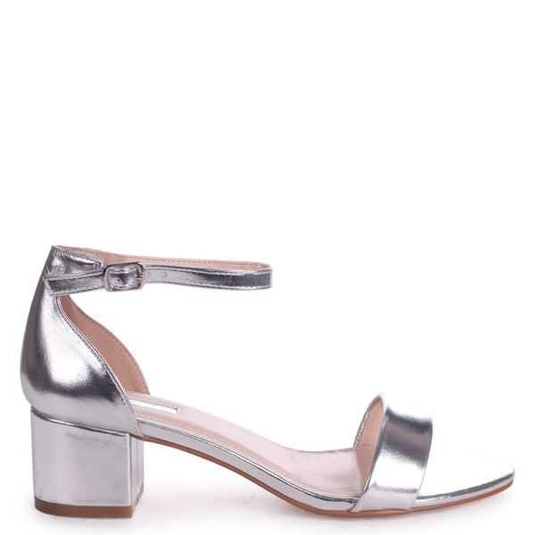 bbf63688fea HOLLIE - Silver Metallic Barely There Block Heeled Sandal With Closed Back