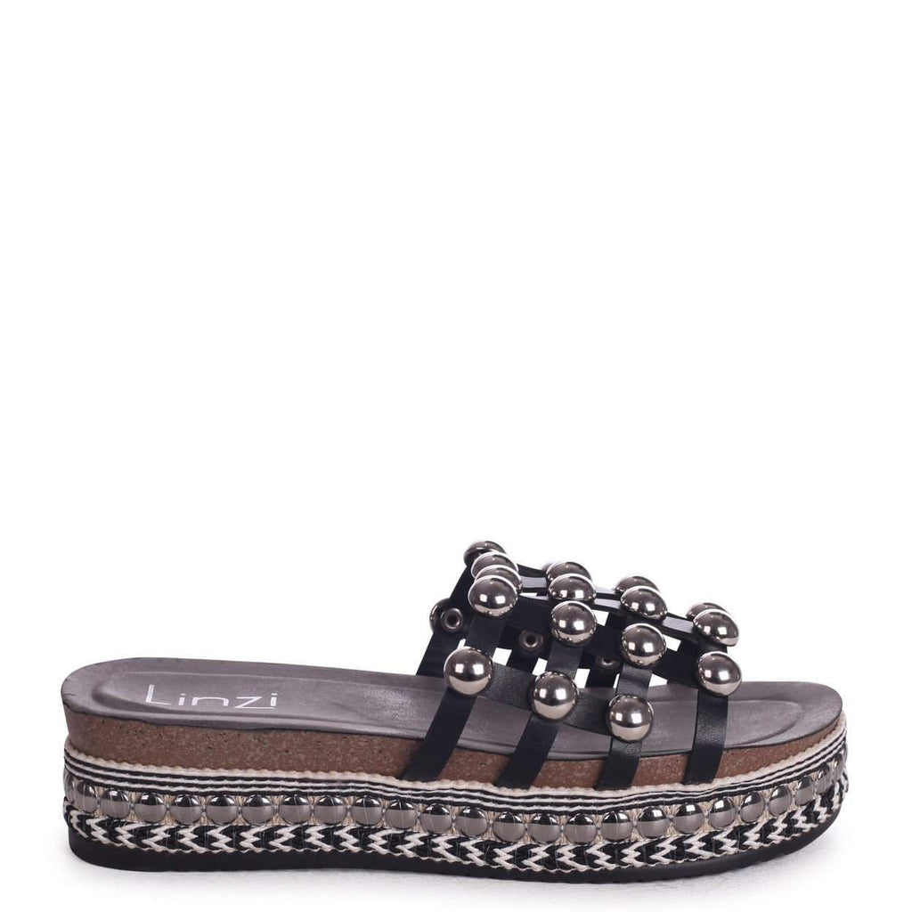 BUBBLES - Black Flatform Slider with Silver Dome Detail And Espadrille Trim