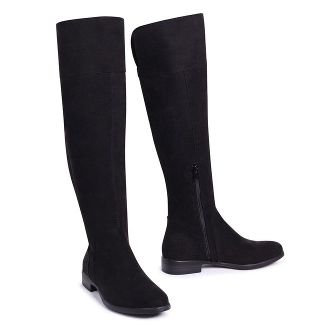 SUZANNE - Black Suede Flat Knee High Boot
