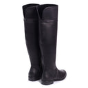 SUZANNE - Black Nappa Flat Knee High Boot