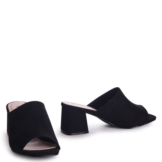 ROBYN - Black Suede Square Toe Open Mule