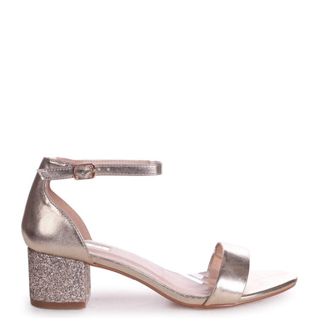 COCONUT - Rose Gold Slip On Slider With Studded Front Strap
