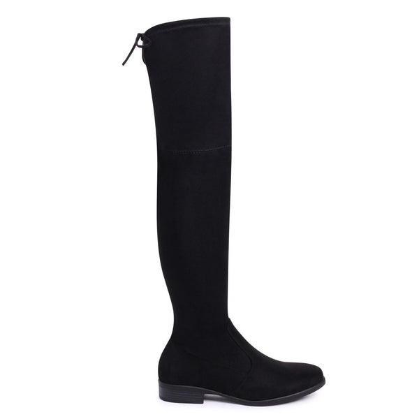 e998f8d8852 GIOVANNA - Black Suede Over The Knee Flat Suede Boot with Tie Up Back – AX  Paris