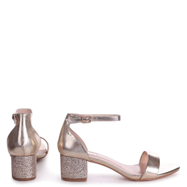 LOLLIE - Gold Metallic Heavy Glitter Block Heeled Sandal