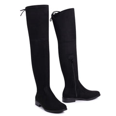GIOVANNA - Black Suede Over The Knee Flat Suede Boot with Tie Up Back