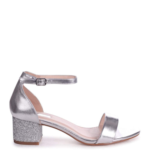 LOLLIE - Silver Metallic Heavy Glitter Block Heeled Sandal