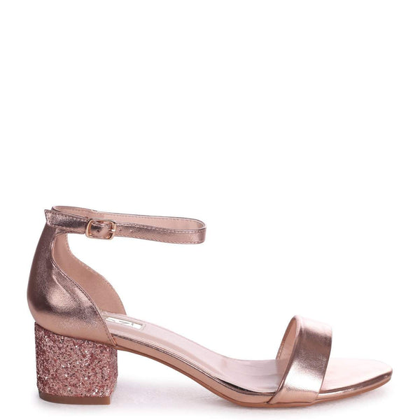 d11e31c7141f LOLLIE - Rose Gold Metallic Heavy Glitter Block Heeled Sandal – AX Paris