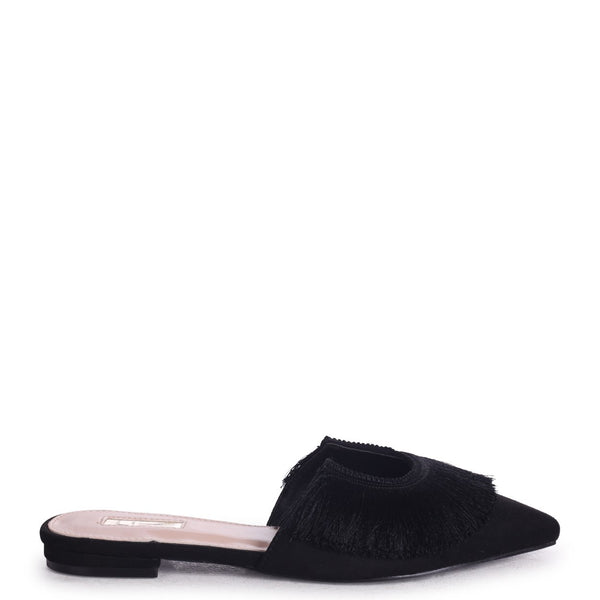 LILLIAN - Black Suede Pointed Slip On Mule With Fringe Detail