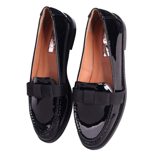 FAINA - Black Patent Loafer with Organza Bow