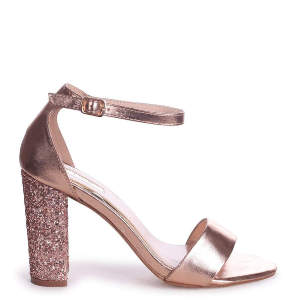 1fca2d9afa8 KORI - Rose Gold Barely There With Glitter Block Heel – AX Paris