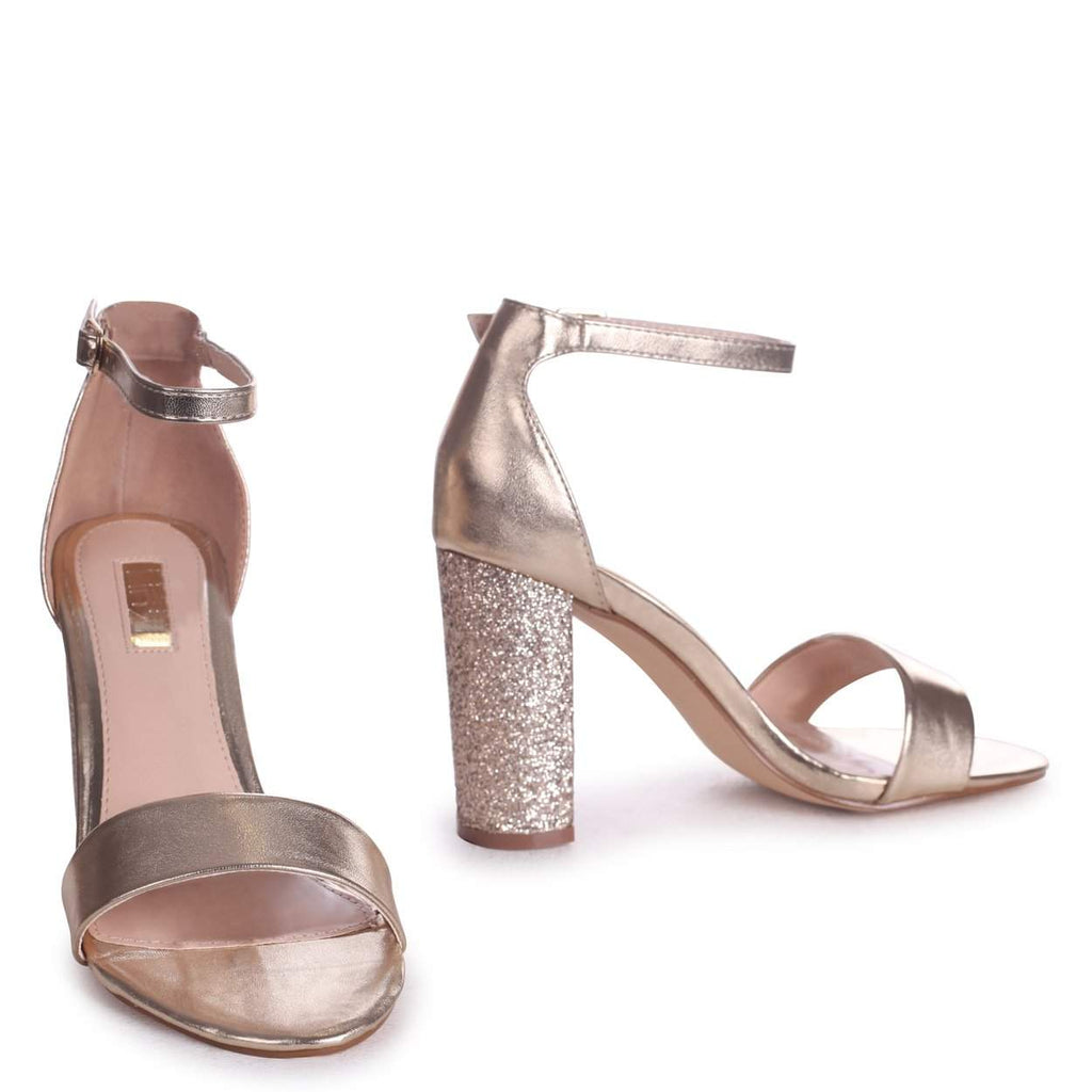 KORI - Gold Barely There With Glitter Block Heel
