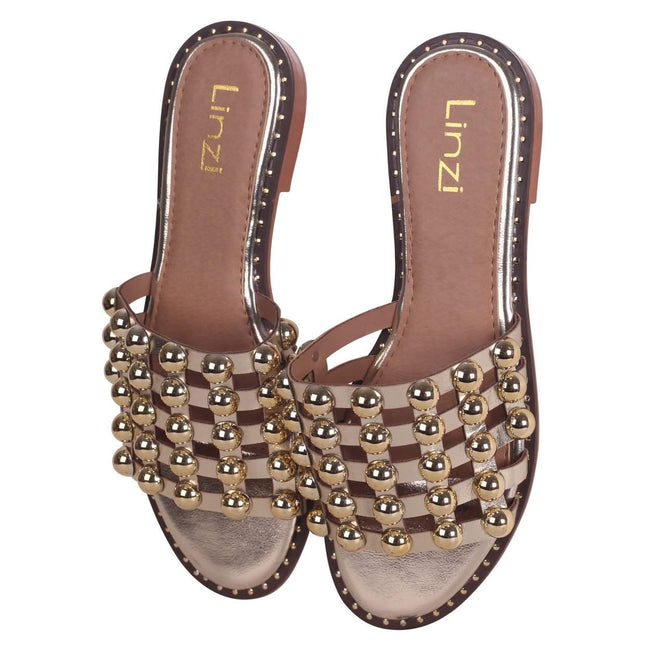 COOKIE - Gold Slip On Slider With Studded Front Strap