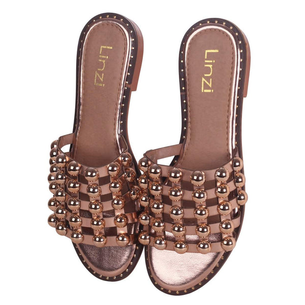 COOKIE - Rose Gold Slip On Slider With Studded Front Strap