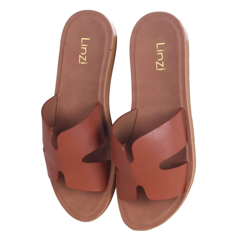 GLORIA - Tan Nappa Slip On Slider With Link Shaped Front Strap