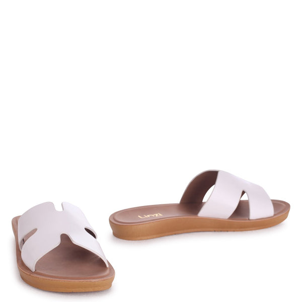 GREECE - White Nappa Slip On Slider With Link Shaped Front Strap