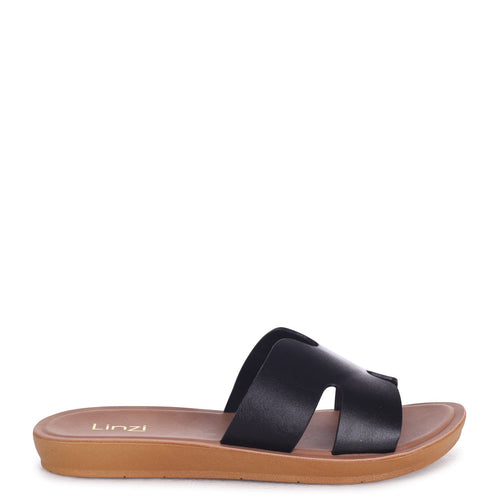 GREECE - Black Nappa Slip On Slider With Link Shaped Front Strap