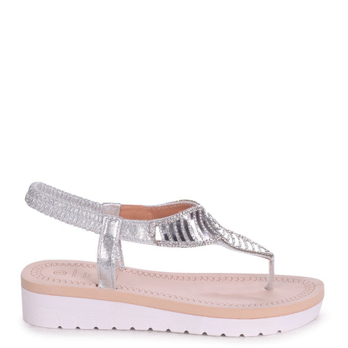 KANSAS - Silver Toe Post Diamante Embellished Sandal With Memory Foam Inner