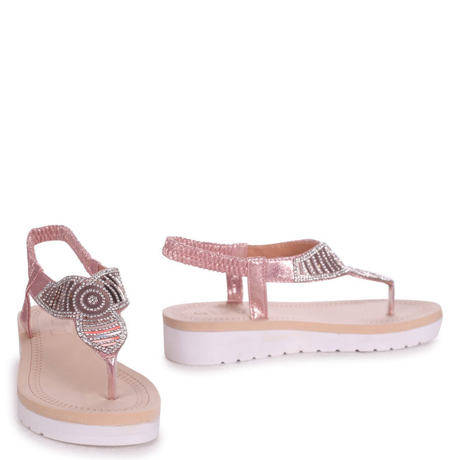 KANSAS - Rose Gold Toe Post Diamante Embellished Sandal With Memory Foam Inner