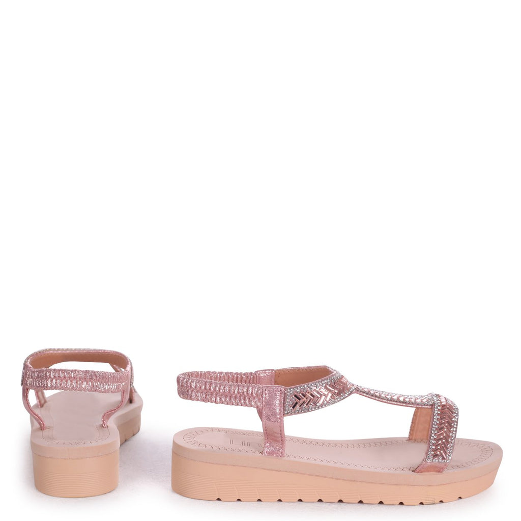 OLYMPIA - Rose Gold T-Bar Diamante Embellished Sandal With Memory Foam Inner