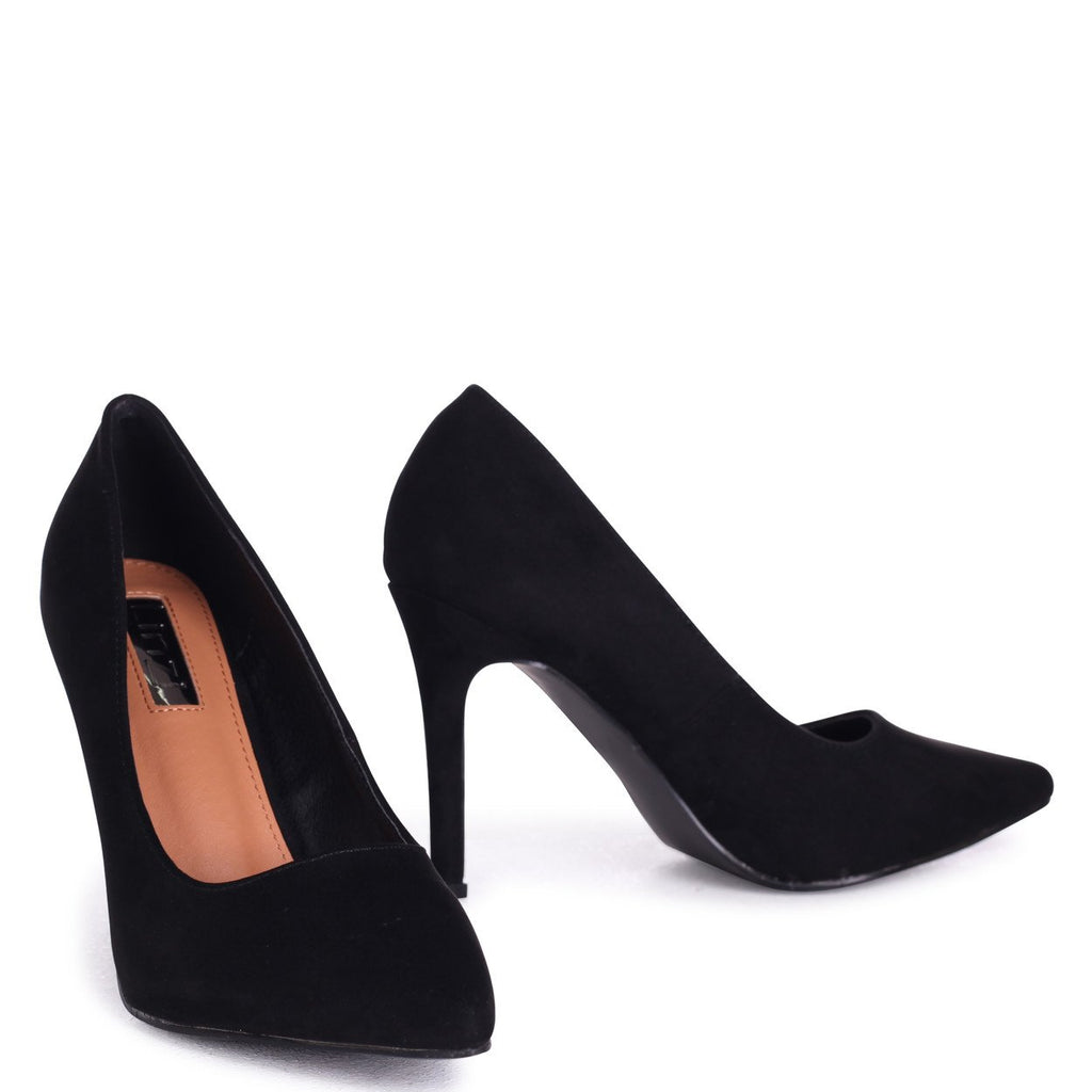 COLETTE - Black Suede Classic Court Shoe with Stiletto Heel