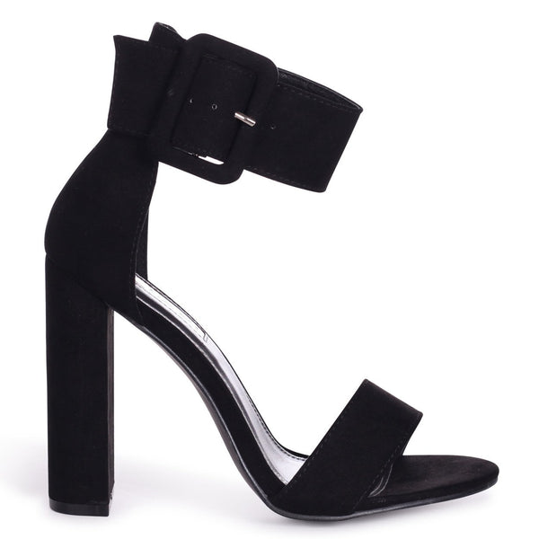 4b057a858fc5 TIA - Black Suede Open Toe Block Heel With Large Buckle Detail – AX Paris
