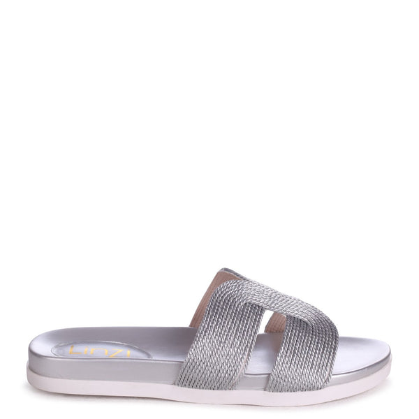 JENNY - Silver Plaited Detail Slip On Slider With Link Shaped Front Strap