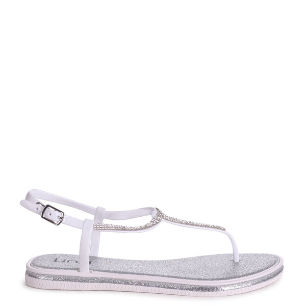 STORM - Silver Glitter Jelly Sandal With Diamante Toe Post