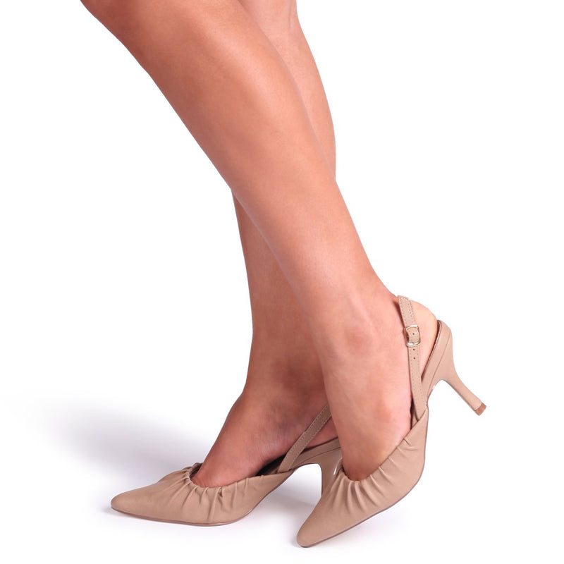 ESPRESSO - Taupe Nappa Court Heel With Ruched Toe Detail