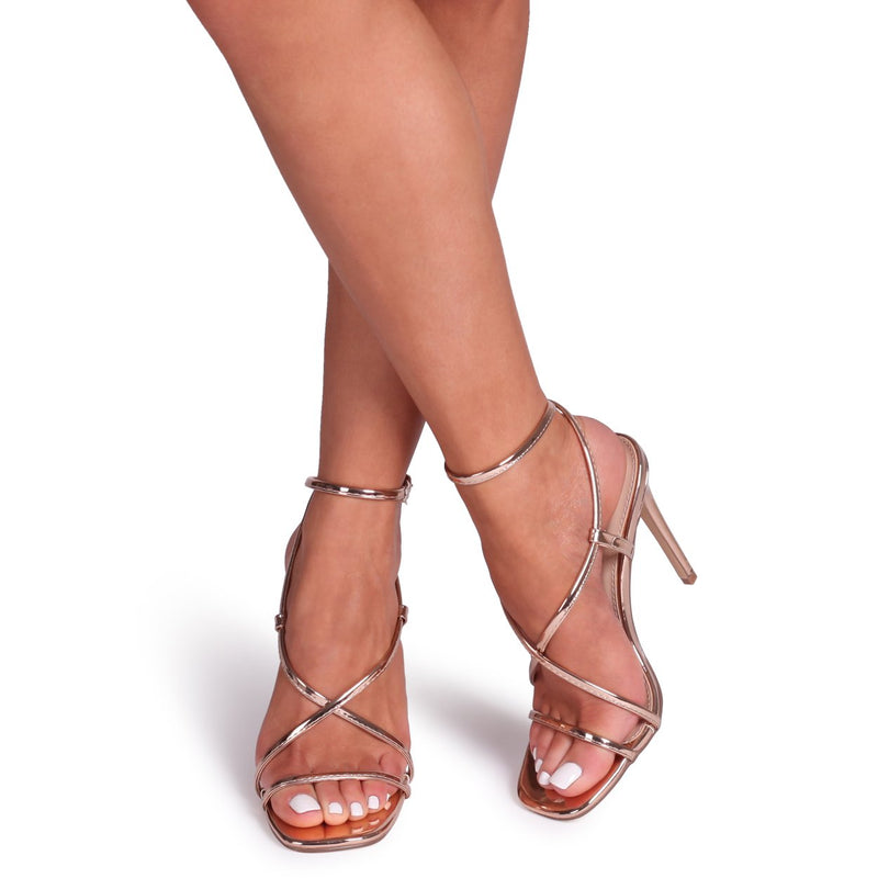 EFFIE - Rose Gold Chrome Strappy Stiletto Heel