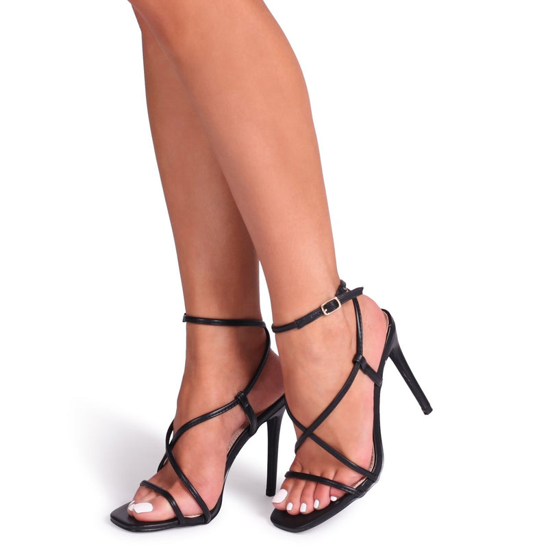 EFFIE - Black Nappa Strappy Stiletto Heel