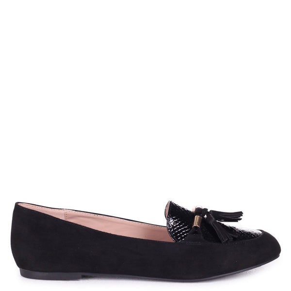 AGNELLA - Black Suede & Lizard Slip On Loafer With Gold Trim