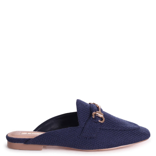 JAXON - Navy Woven Slip On Loafer Style Mule With Gold Trim