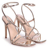 EFFIE - Gold Chrome Strappy Stiletto Heel