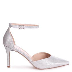 MACI - Silver Glitter Fabric Stiletto Court Heel With Ankle Strap