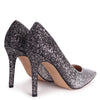 DYNAMIC - Silver & Black Glitter Ombre Stiletto Pointed Court Heel
