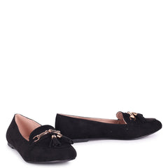 CATHY - Black Suede Slip On Loafer With Gold Trim
