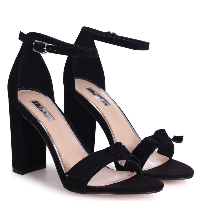 BEAUBELL - Black Suede Block Heeled Sandal With Front Bow Detail