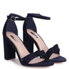 BEAUBELL - Navy Suede Block Heeled Sandal With Front Bow Detail