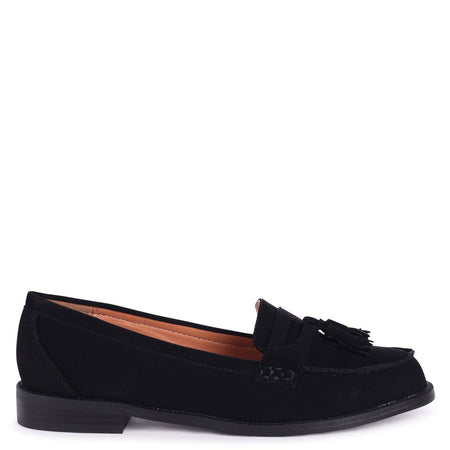 NELLE - Black Croc Patent & Suede Classic Patent Loafer with Bow & Fringing