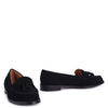 LAVERNE - Black Nubuck Classic Slip On Loafer With Tassel