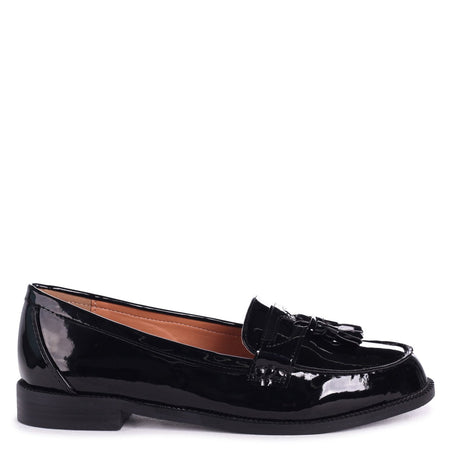 CATHY - Black Patent Slip On Loafer With Gold Trim