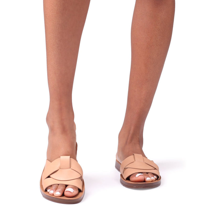ANASTASIA - Nude Nappa Slider With Woven Front Straps