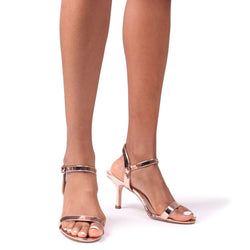 LILA - Rose Gold Small Barely There Heeled Sandal
