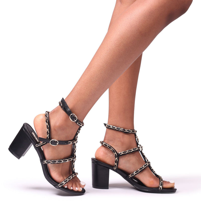 MADDOX - Black Block Heeled Sandal With All Over Gold Chain Detail