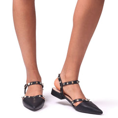 VISION - Black Nappa Studded Pump With Pointed Toe