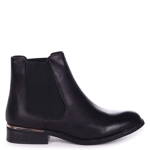 JEANELLE - Black Nappa Classic Chelsea Boot with Gold Rand