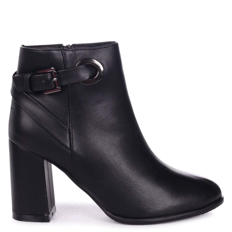 DAISY - Black Nappa Heeled Ankle Boot With Gold Buckle Detail