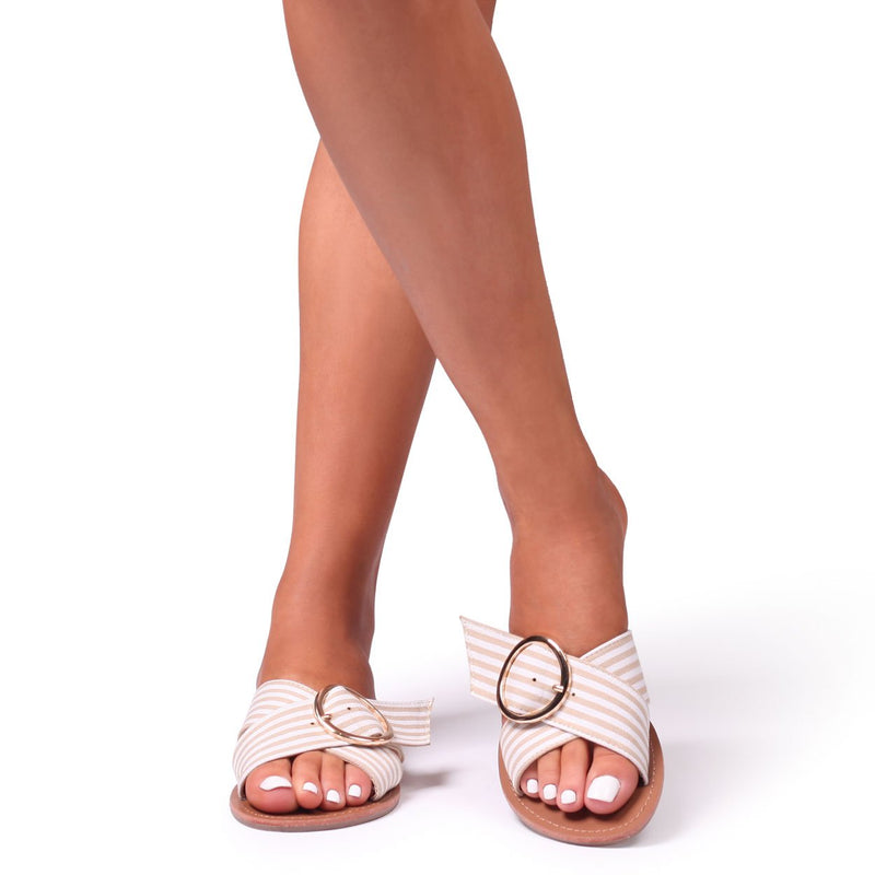 CHESTER - White & Beige Stripe Slider With Crossover Front Straps